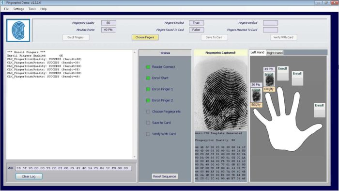 Smart card biometric fingerprint development kit SDK