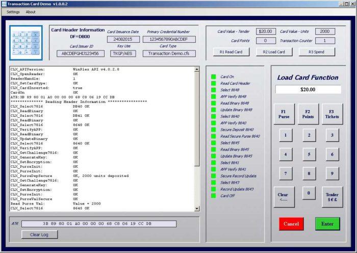 Smart card transaction demo software