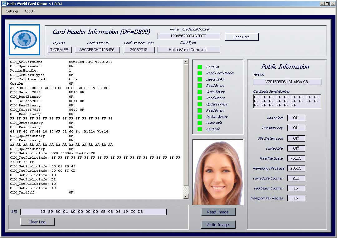 Smart card hello world demo software