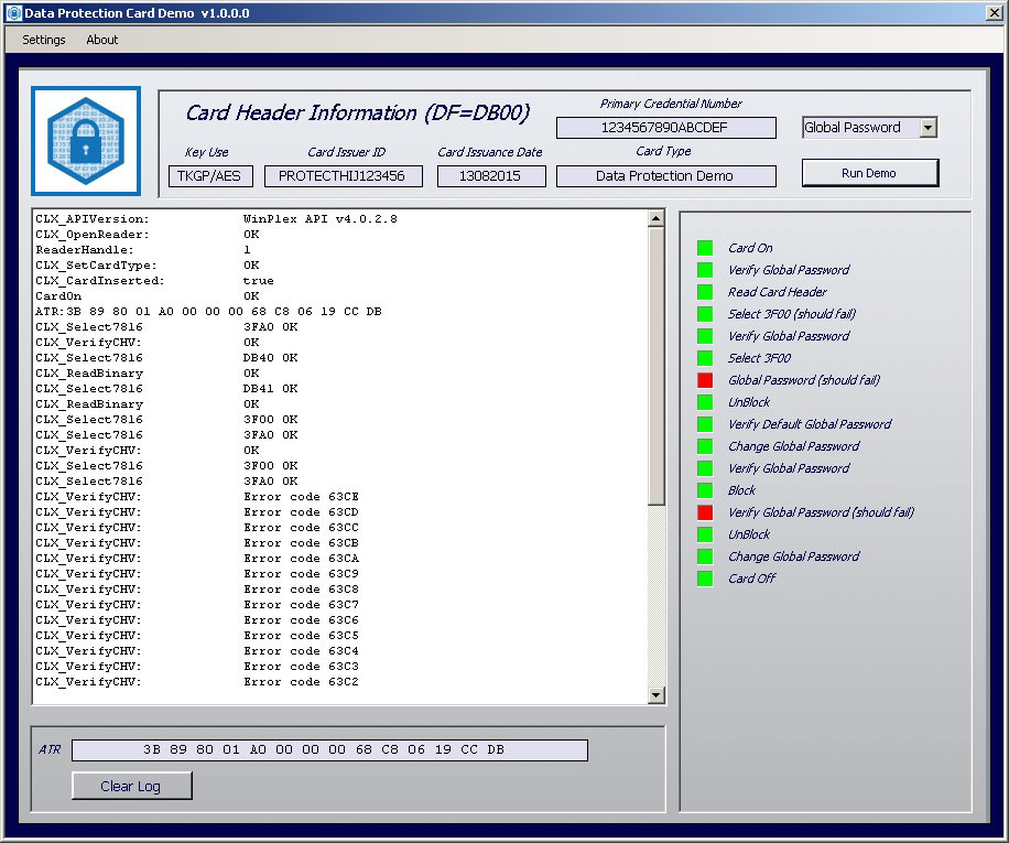 Smart card data protection demo software