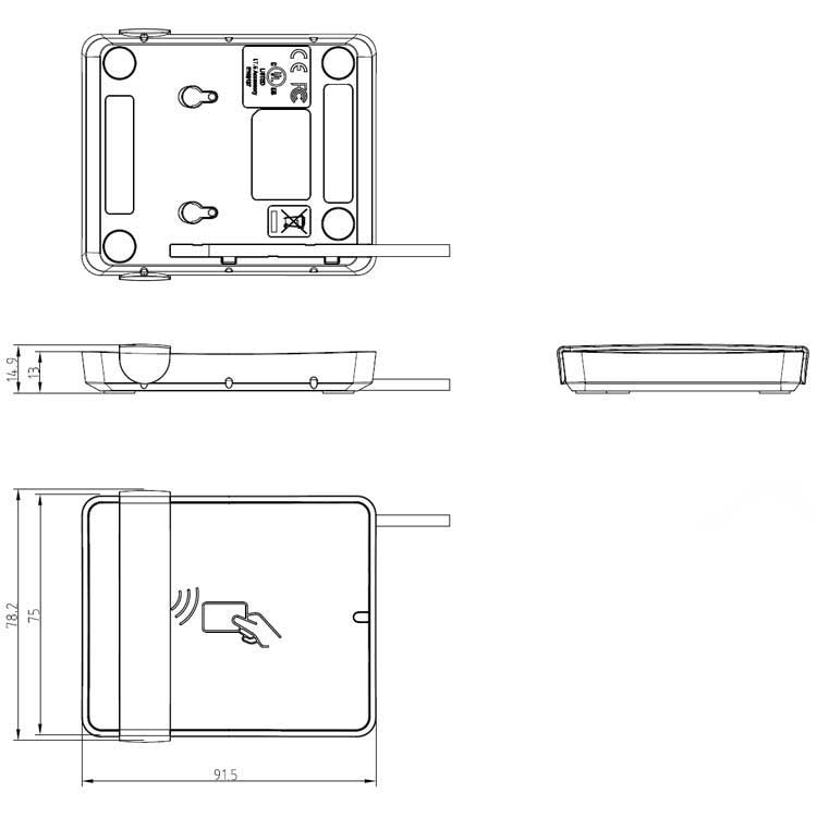 Identive 3700F Card Reader stand dimensions