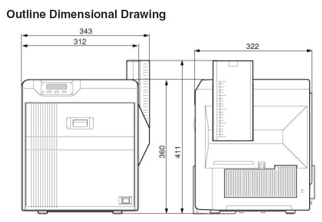 Matica XID 8300 card printer dimensions