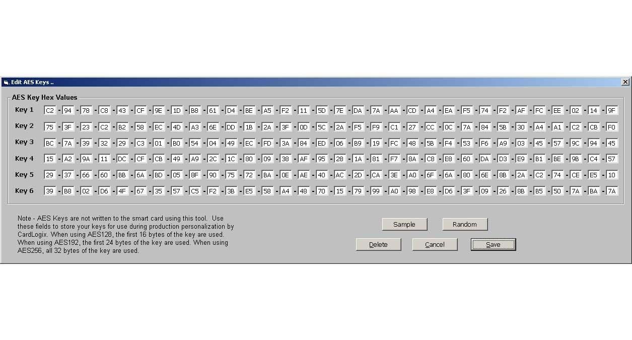 Smart card AES Keys software SDK