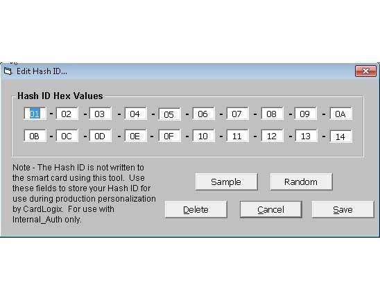 Smart card software Hash ID