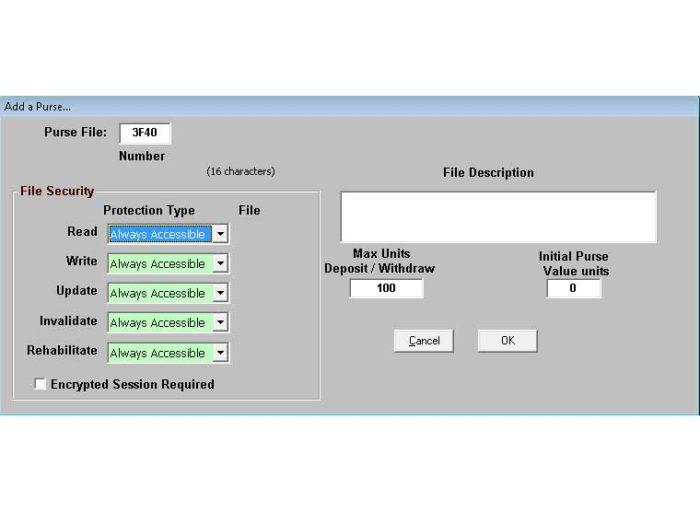 Smart card purse file software