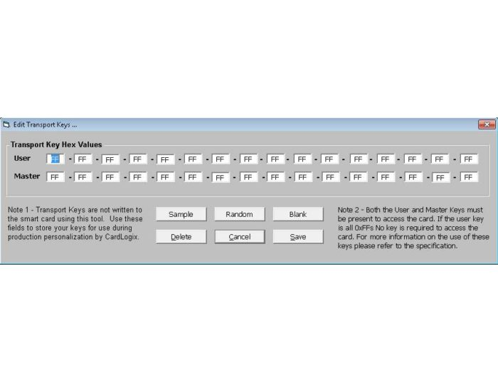 Smart card transport keys software